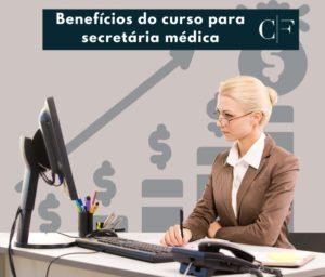 foto de uma secretaria médica trabalhando